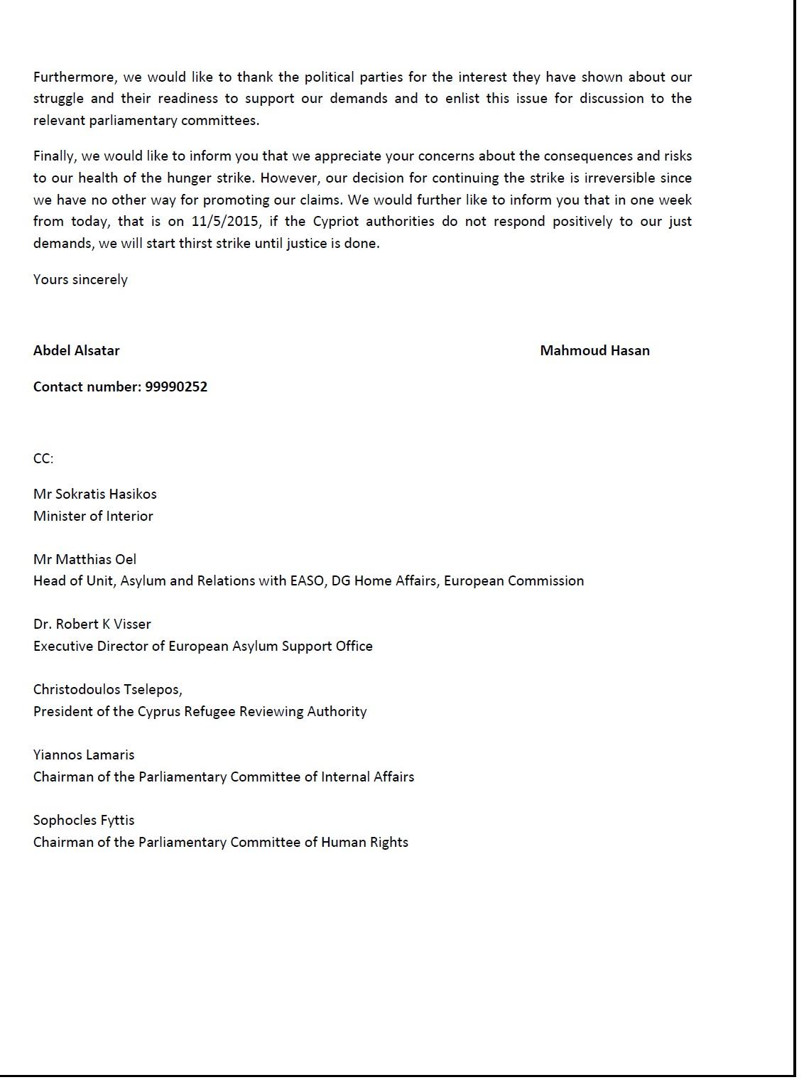 Open letter Hunger strikers Ajanib 04.05.2015 | KISA