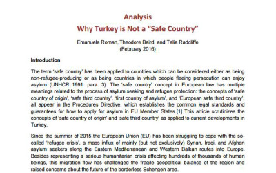 Legal opinion by statewatch on whether or not Turkey can be consider a safe country