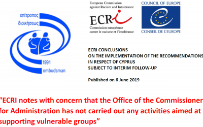 ECRI is concern over the inaction of the Office of the Commissioner for Administration at supporting vulnerable groups